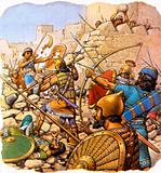 """Ruthless Assyrian """"sappers"""" attacking giant walls with hammers and crowbars"""