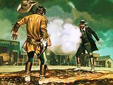 Assistant City Marshal Wyatt Earp at work in Dodge City, Kansas, 1870s