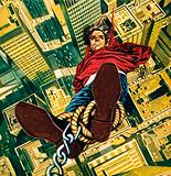 Harry Houdini suspended from the top of a New York skyscaper