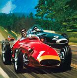 Juan Manuel Fangio driving a Maserati racing car, 1950s