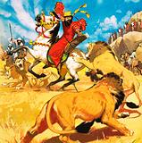 King Darius of Persia hunting lions