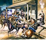 Bank robbery taking place in the Wild West
