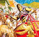 Ben-Hur racing a chariot in ancient Rome