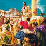 "Mark Antony addressing the Romans after Julius Caesar's death: ""I come to bury Caesar, not to praise him …"""