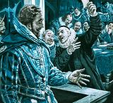 Sir Walter Raleigh defending himself against Edward Coke's accusations