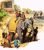 Children riding Jumbo at the London Zoo