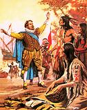Sir Francis Drake being welcomed in what is now California