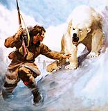 Vilhjalmar Stefansson being attacked by a polar bear