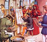 Lorenzo de Medici visiting the school he set up for artists
