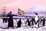 James Clark Ross planting the Union Jack into the Antarctic ice in 1840