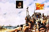 Columbus arriving in Watling Island in the Bahamas