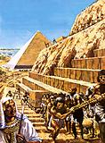 Building the Great Pyramid at Giza, ancient Egypt
