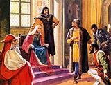 Amerigo Vespucci imagined giving reports of his voyages to Queen Isabella of Spain