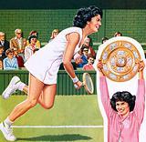 Virginia Wade winning the ladies single tennis trophy at Wimbledon in July 1977