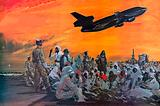 Muslem pilgrims in the Middle East flying to Mecca by Douglas DC-10