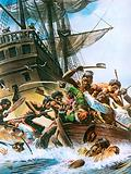 Abel Tasman's ship being attacked by Maoris when trying to land on New Zealand