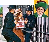 Suffragettes, with Emmeline Pankhurst (inset)