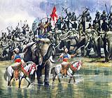 King Porus' army facing Alexander the Great in the torrential rain