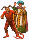Costumes for the devil and one of the three wise men used in a medieval mystery play