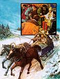 Edward Chancellor in a sleigh on the way to Moscow