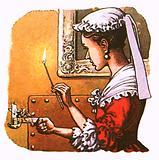 18th century maid holding a mechanised tinder box