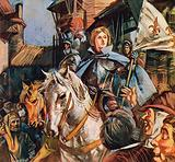 Joan or Arc on a white horse