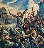 Joan of Arc charging the English
