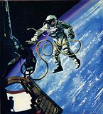 American astronaut doing a space walk in 1965