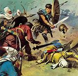 The Persian army threw itself against the Spartans