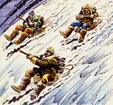 Shackleton and his men used coils of rope to slide down mountainsides