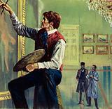 Delacroix working on his canvas at the Paris Salon
