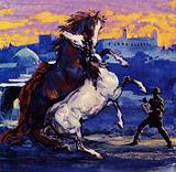 Delacroix saw two wild stallions fighting and, heedless of the risk, sketched the scene