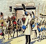 The gallant defenders of Fort William Henry pass the ranks of French soldiers