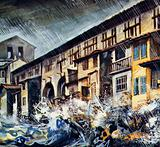 Floodwaters roar past the Ponte Vecchio in Florence
