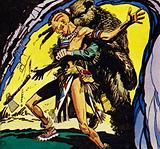 Hawkeye, in his bear disguise, overpowers Magua