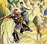 Magua is seen dragging Cora Munro along a rocky path