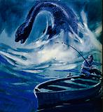 The Loch Ness Monster attacks a fisherman