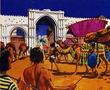 The Queen of Sheba visited Solomon bringing a great store of gold