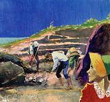 Schliemann hired workmen to begin digging at a mound called Hissarlik