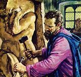 Michelangelo working on a sculpture