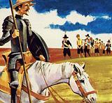 Quixote saw twelve galley slaves linked together by chains around their necks
