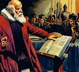Galileo's discovery that the Earth revolved around the Sun was considered herasy