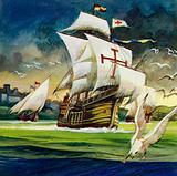 Columbus crossed the Atlantic and eventually discovered San Salvador