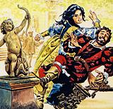 Petruchio drove Katherine to anger and she knocked him from his stool