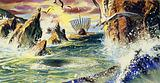 The waves crashed between the towering cliff of Scylla and the jagged rocks of Charybdis