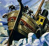 Amundsen took a ship into the ice of the Arctic