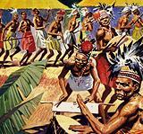 Jazz originated in the complex drum rhythms of West African tribes