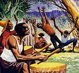 In Haiti, voodoo ceremonies were accompanied by a wildly rhythmic drumming