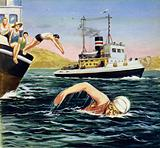 Occasionally, other swimmers would join Ederle on her lonely swim across the Channel