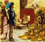 Montezuma, king of the golden city, greeted Cortes and gifts were exchanged